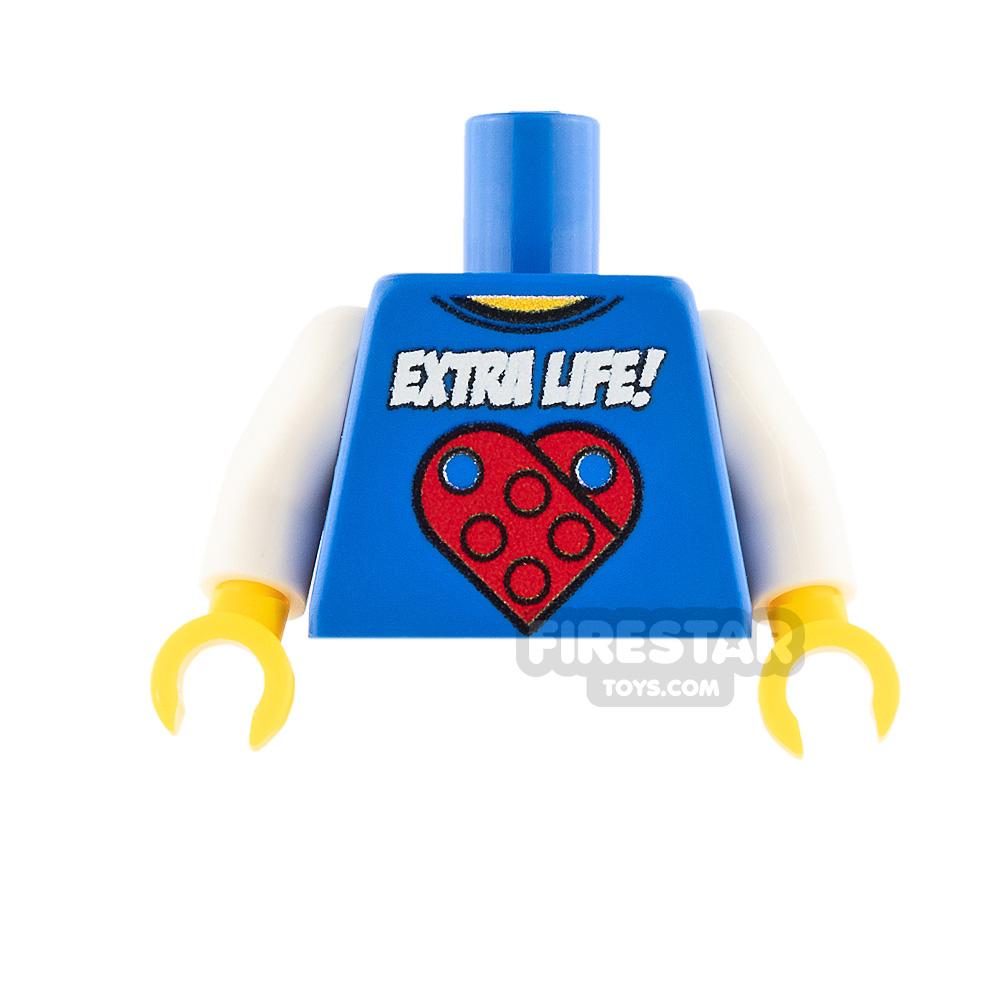Custom Design Torso - Extra Life! - Blue with White Arms