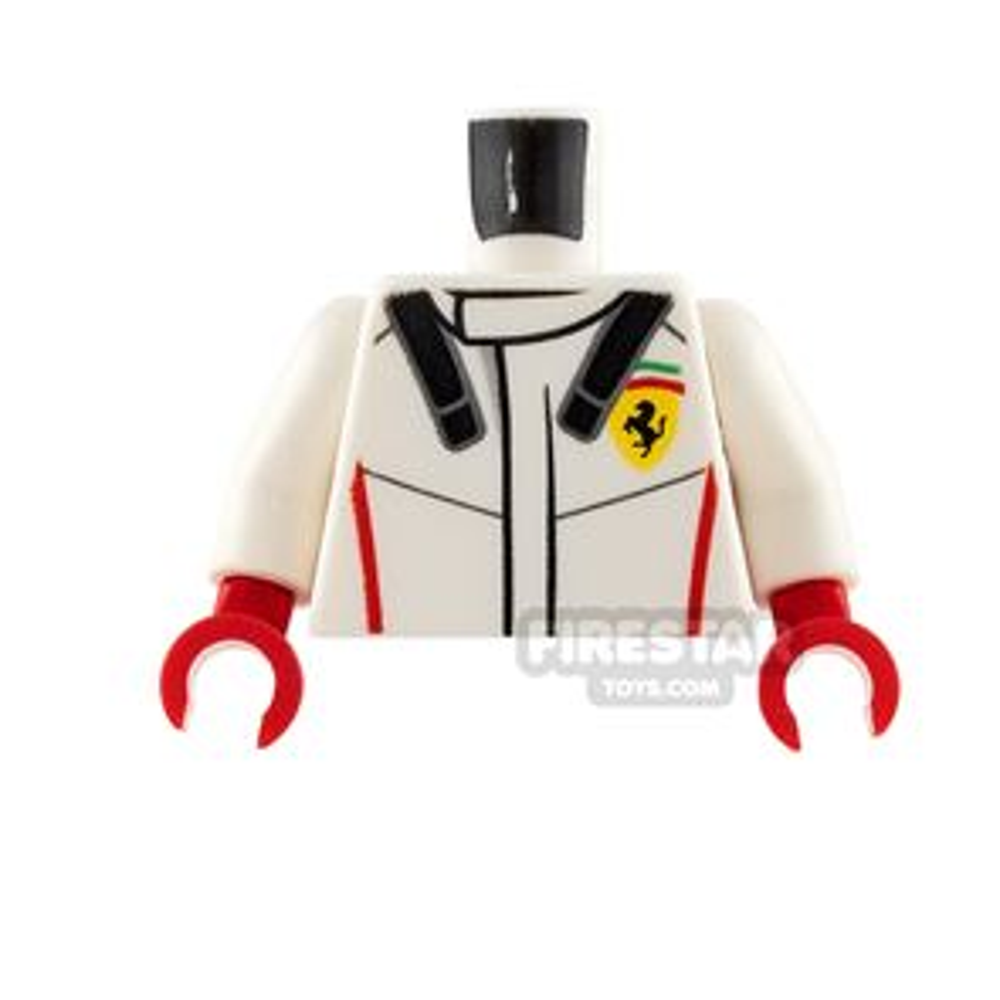 LEGO Mini Figure Torso - White Racing Jacket with Ferrari Logo
