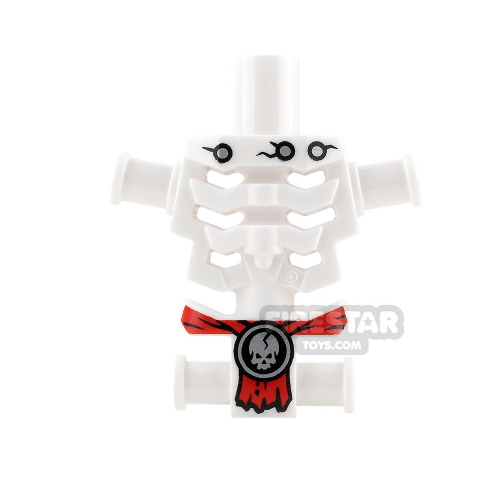 LEGO Mini Figure Torso - Skeleton - Red Loincloth with Skull