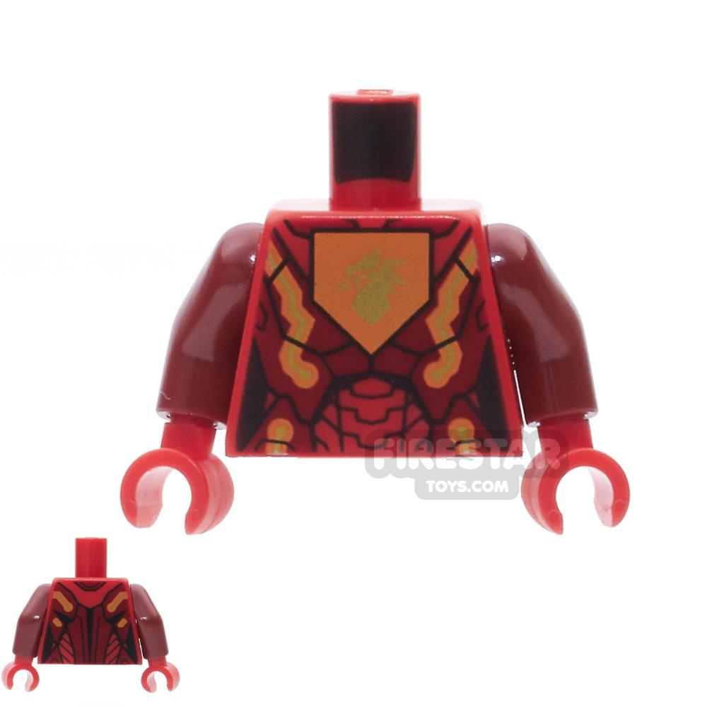 LEGO Mini Figure Torso - Orange Gold Circuitry with Dragon Head