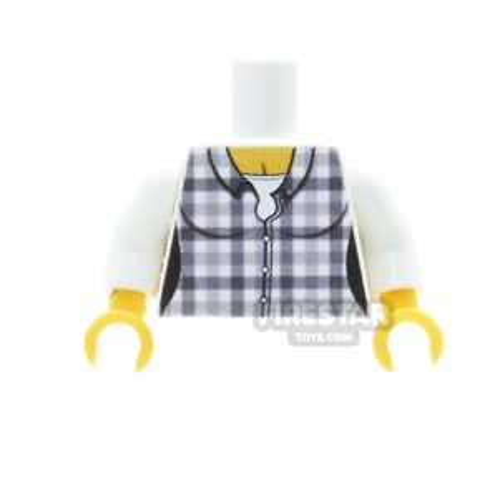 Custom Design Torso - Checked Shirt - Female - White
