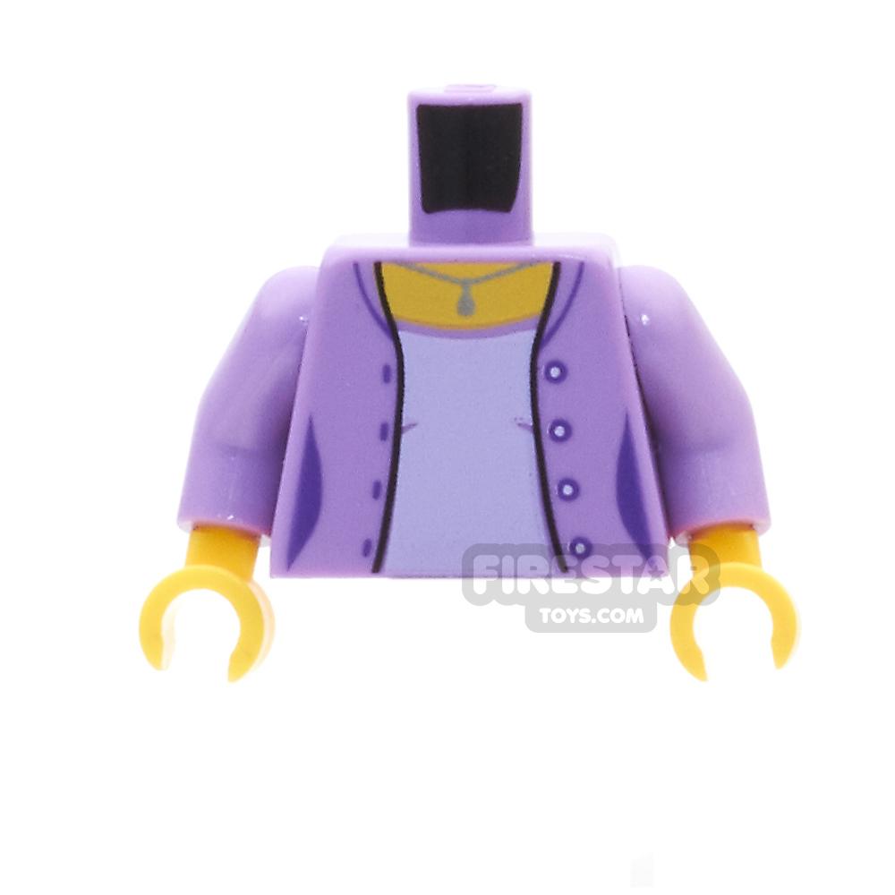 LEGO Mini Figure Torso -  Medium Lavender Jacket, With Silver Necklace