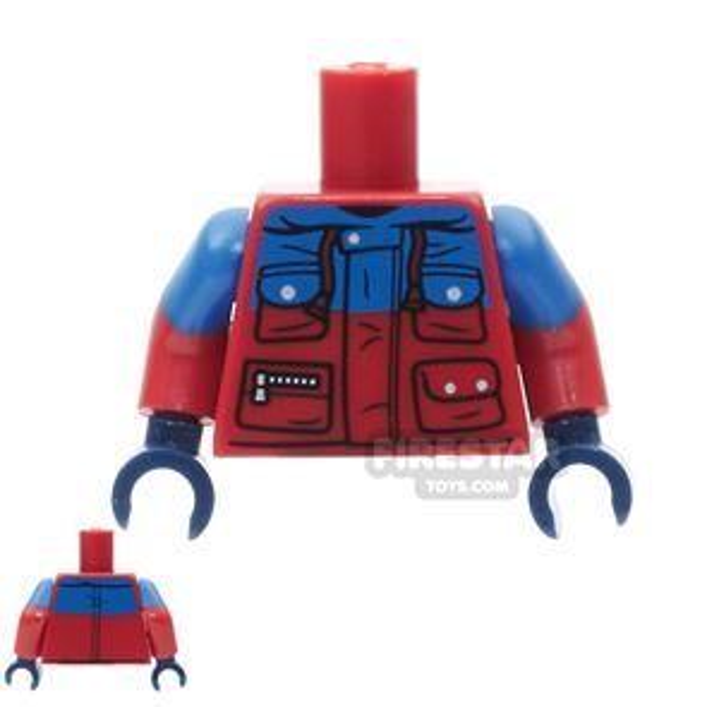 LEGO Mini Figure Torso - Red and Blue Winter Jacket