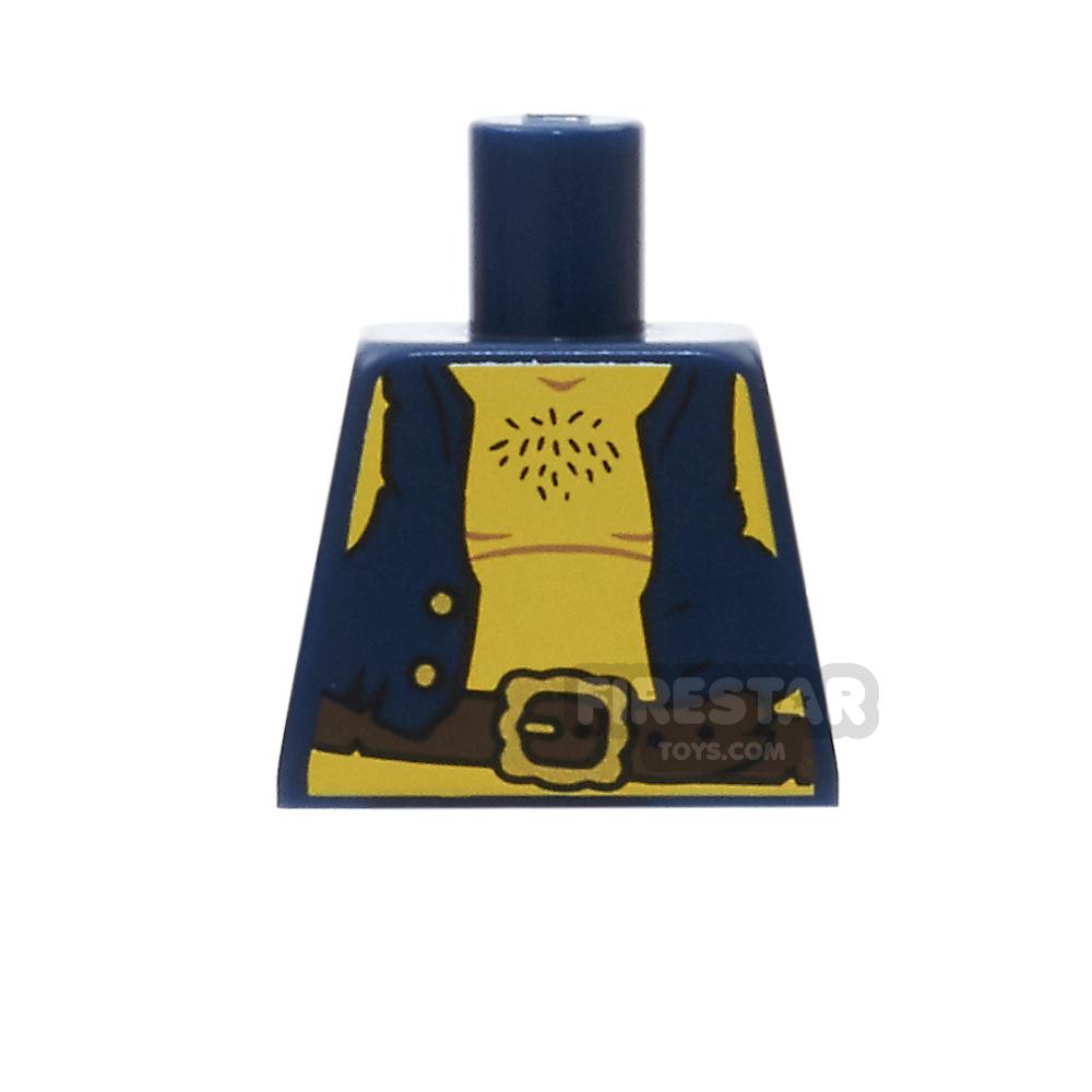 LEGO Mini Figure Torso - Dark Blue Pirate Vest - No Arms
