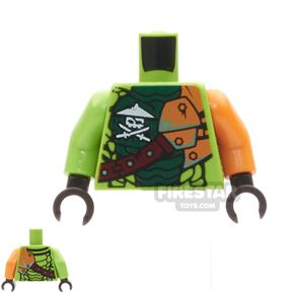 LEGO Mini Figure Torso - Ninja Skull with Crossed Swords and Scales