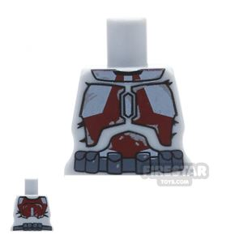 Arealight Mini Figure Torso - Gray with Dark Red STK Suit