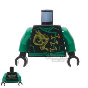 LEGO Mini Figure Torso - Green Robe with Gold Clasps and Dragon