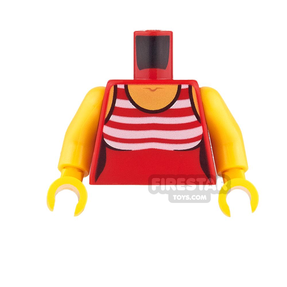 LEGO Mini Figure Torso - Red Swimsuit with White Stripes