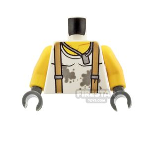 LEGO Mini Figure Torso - Shirt with Dirt Stains and Suspenders