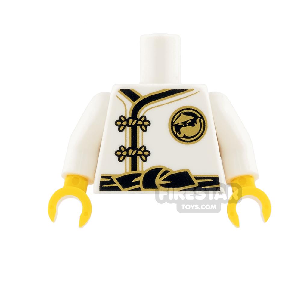 LEGO Mini Figure Torso - White Ninja Robe with Gold Clasps