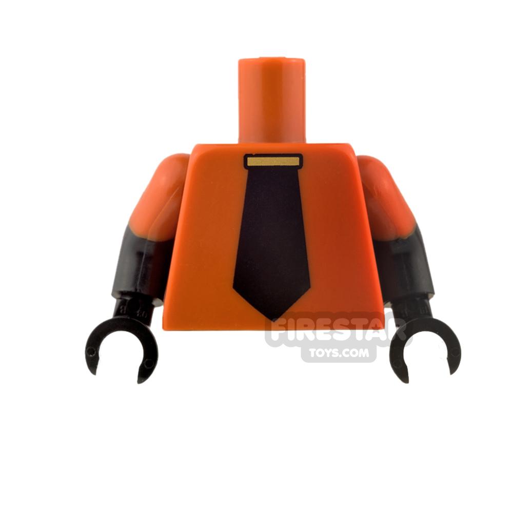 LEGO Mini Figure Torso - Dark Orange with Black Tie