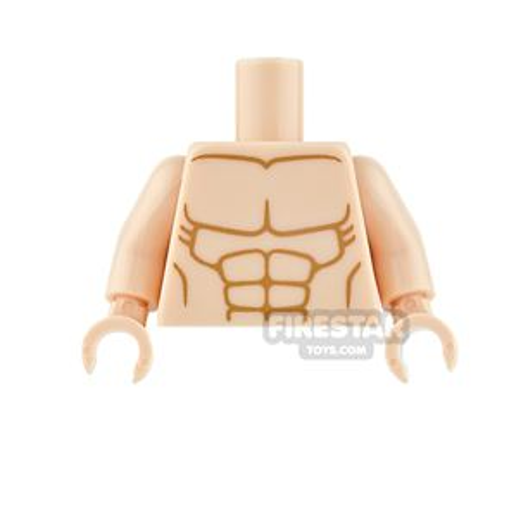LEGO Mini Figure Torso - Bare Muscle Chest - Light Flesh