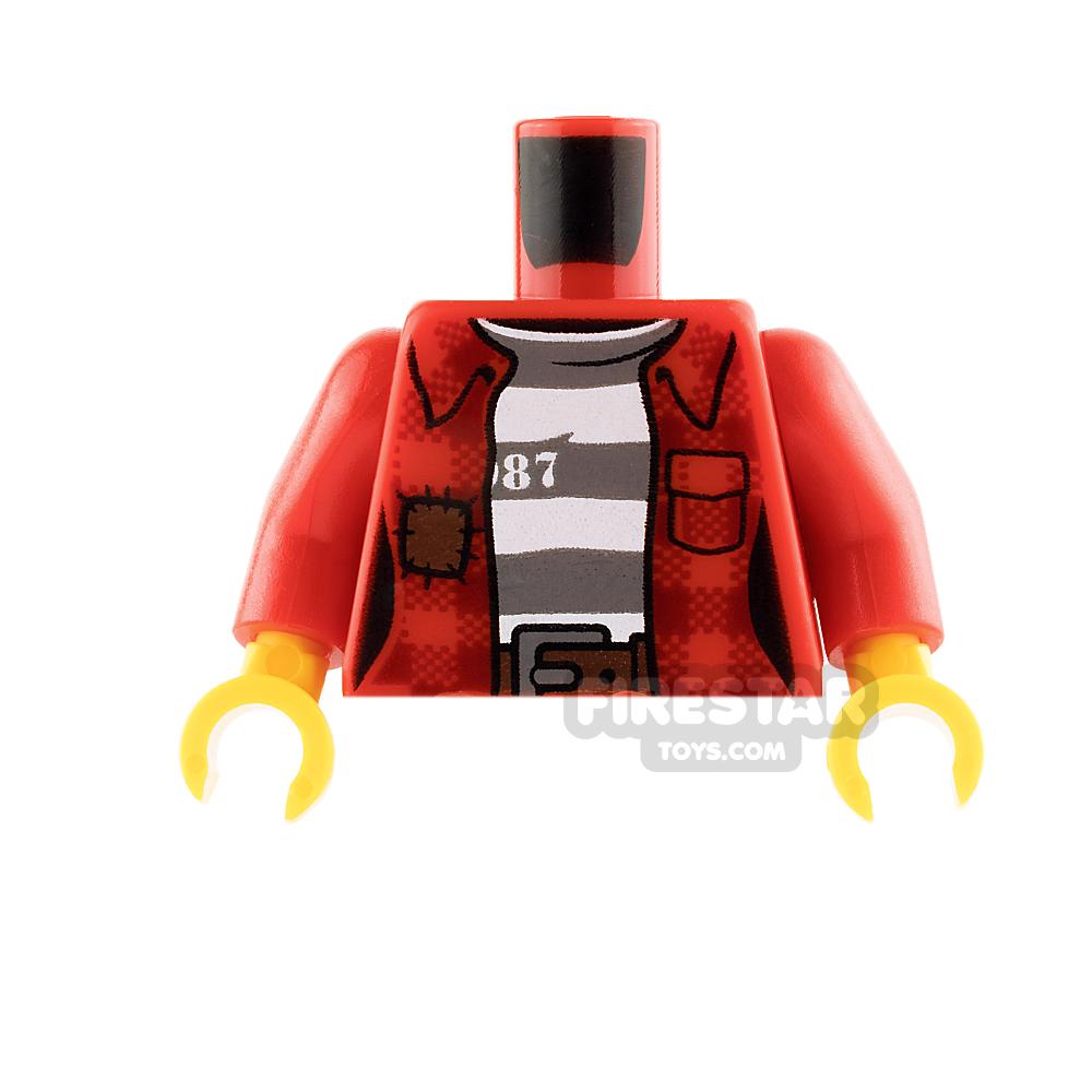 LEGO Mini Figure Torso - Red Jacket Over Prison Shirt