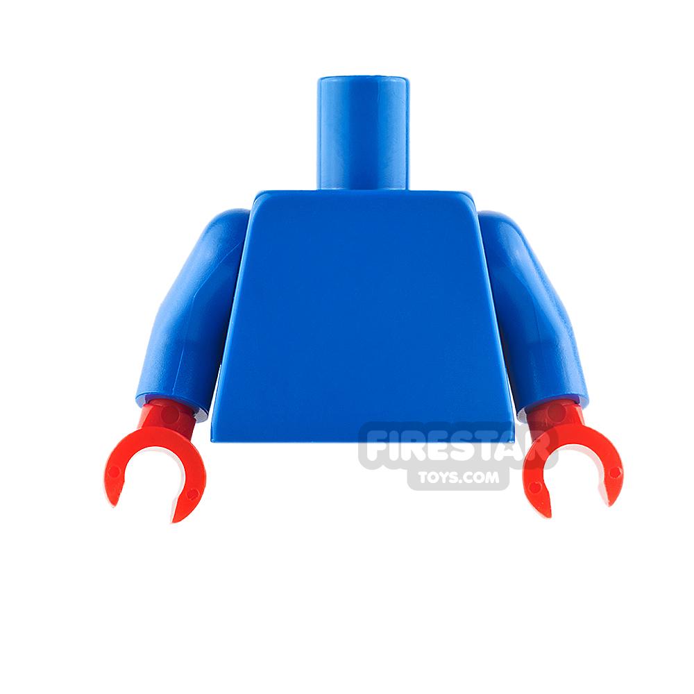 LEGO Mini Figure Torso - Plain Blue - Red Hands