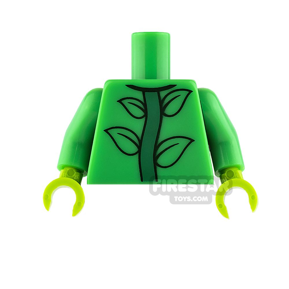 LEGO Mini Figure Torso - Bright Green with Plant Stem