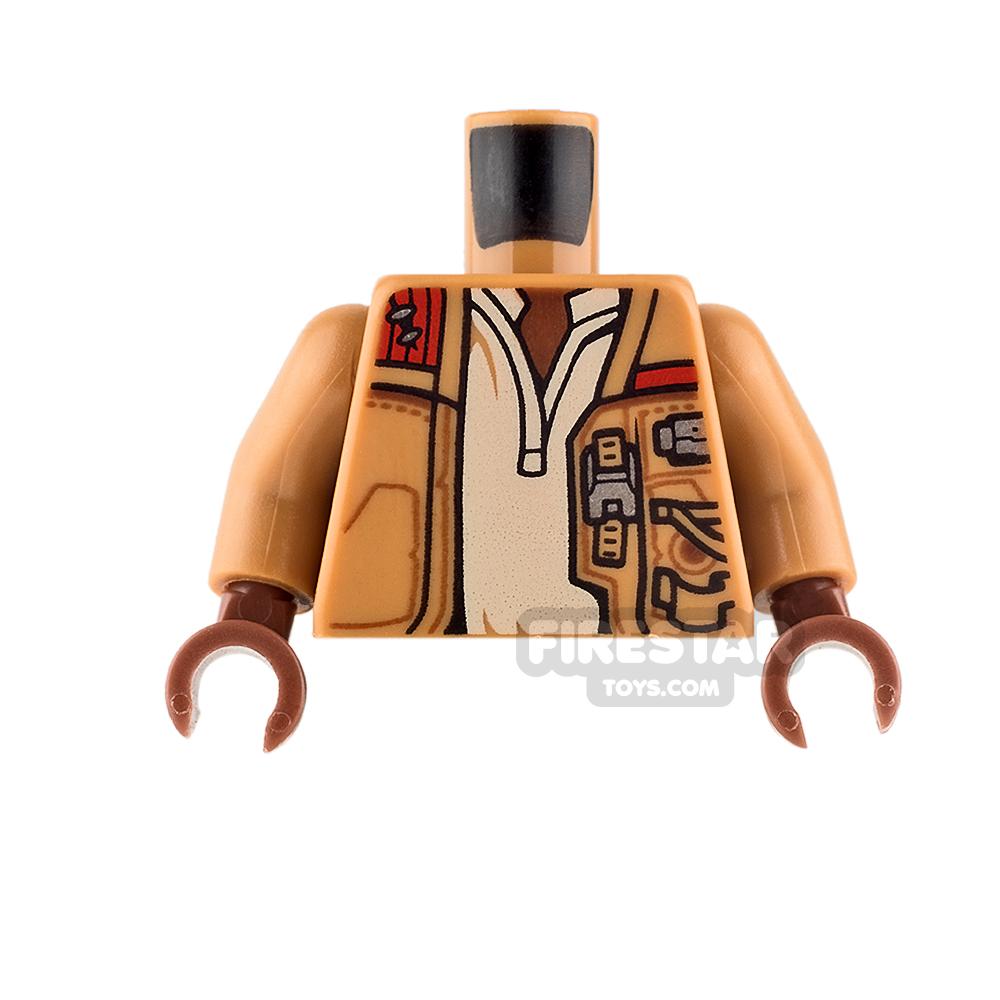 LEGO Mini Figure Torso - Jacket with Pockets - Tan Undershirt