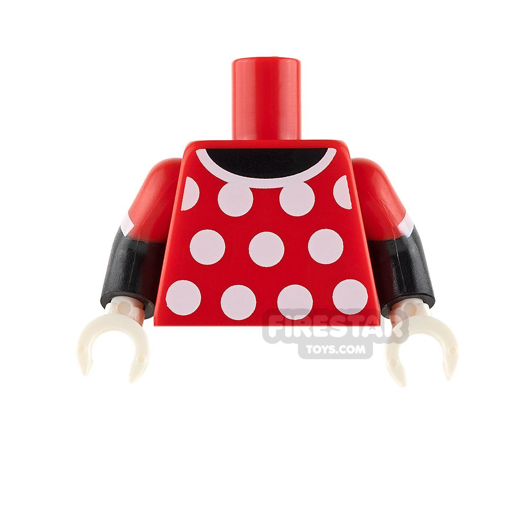 LEGO Mini Figure Torso - Minnie Mouse - Red with Polka Dots