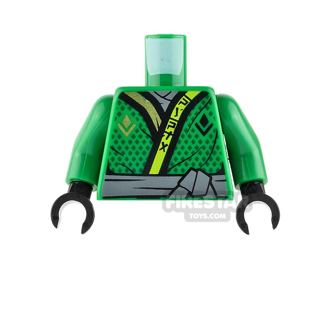 LEGO Mini Figure Torso - Green Ninjago Robe with Gray Sash