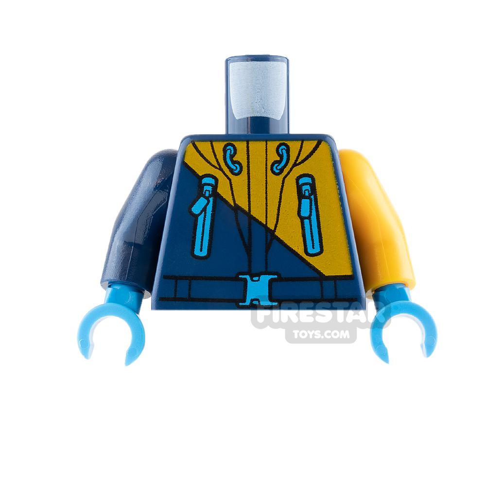 LEGO Mini Figure Torso - Arctic Explorer Jacket - Dark Blue and Orange