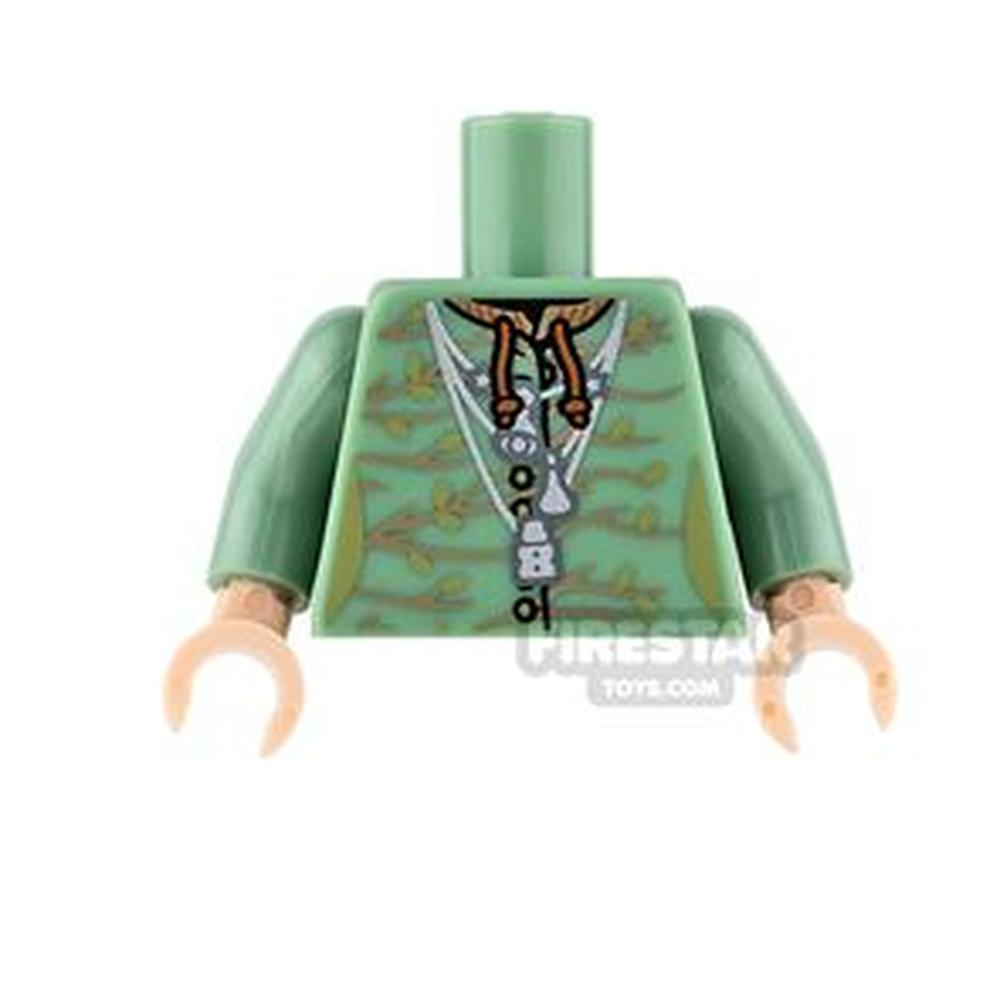 LEGO Mini Figure Torso - Sand Green Robe with Necklace
