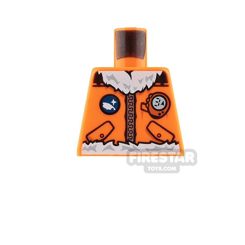 LEGO Mini Figure Torso - Arctic Explorer Jacket - Orange - No Arms