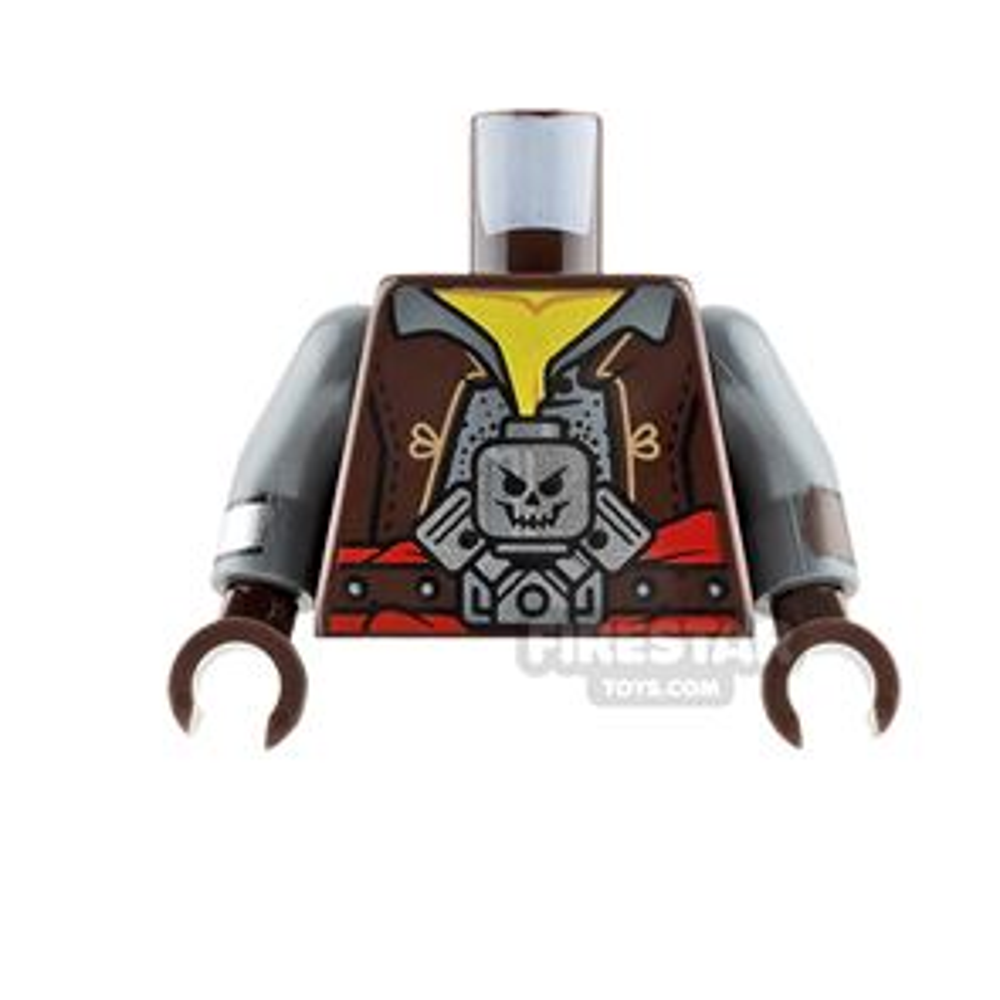 LEGO Mini Figure Torso - Dark Brown Jacket with Skull