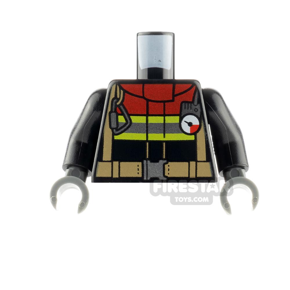 LEGO Minfigure Torso Fire Jacket with Dark Red Collar