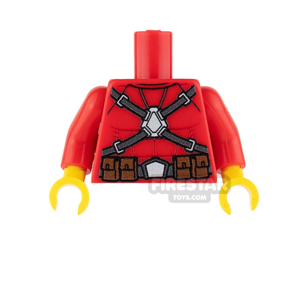 Custom Design Torso - Super Hero - Male - Red with Belt
