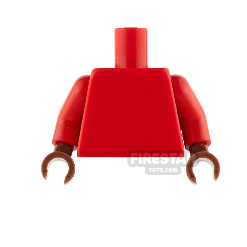 LEGO Mini Figure Torso - Plain Red - Reddish Brown Hands