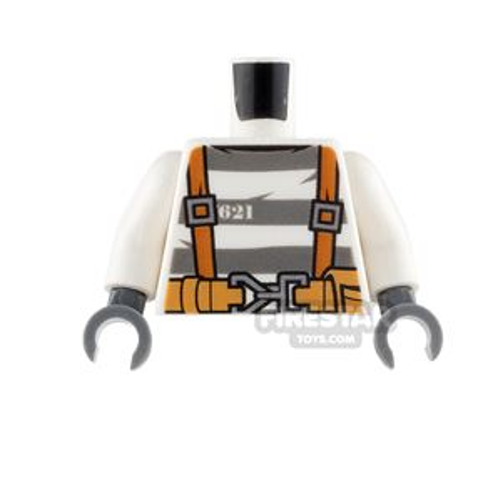 LEGO Mini Figure Torso - Orange Suspenders over Prison Stripes Shirt