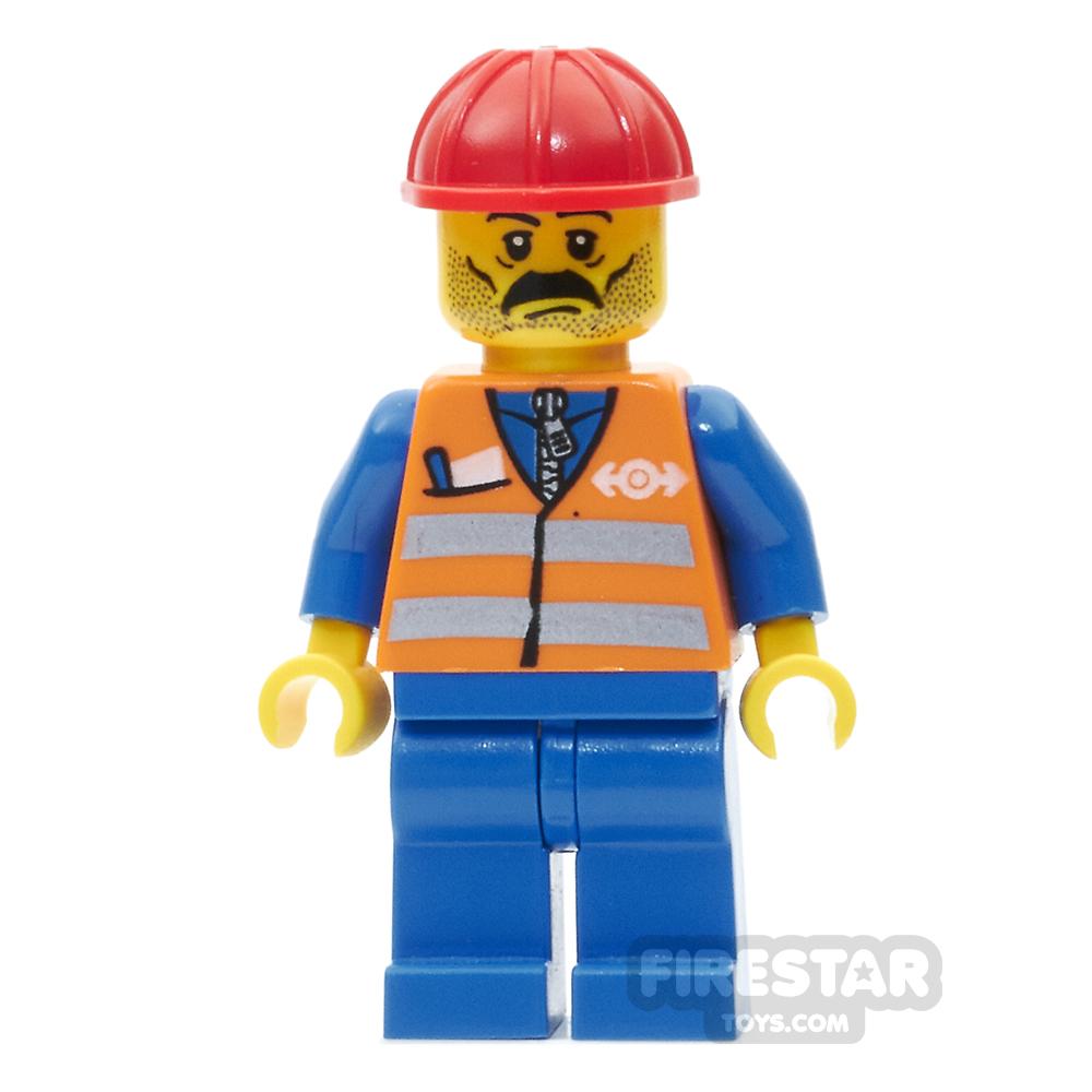LEGO City Mini Figure - Orange Safety Vest and Moustache