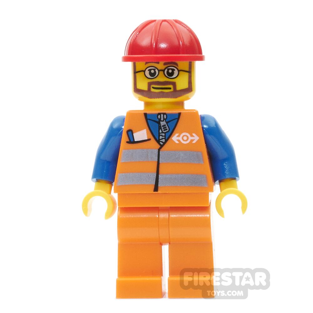 LEGO City Mini Figure - Orange Safety Vest - Beard and Glasses