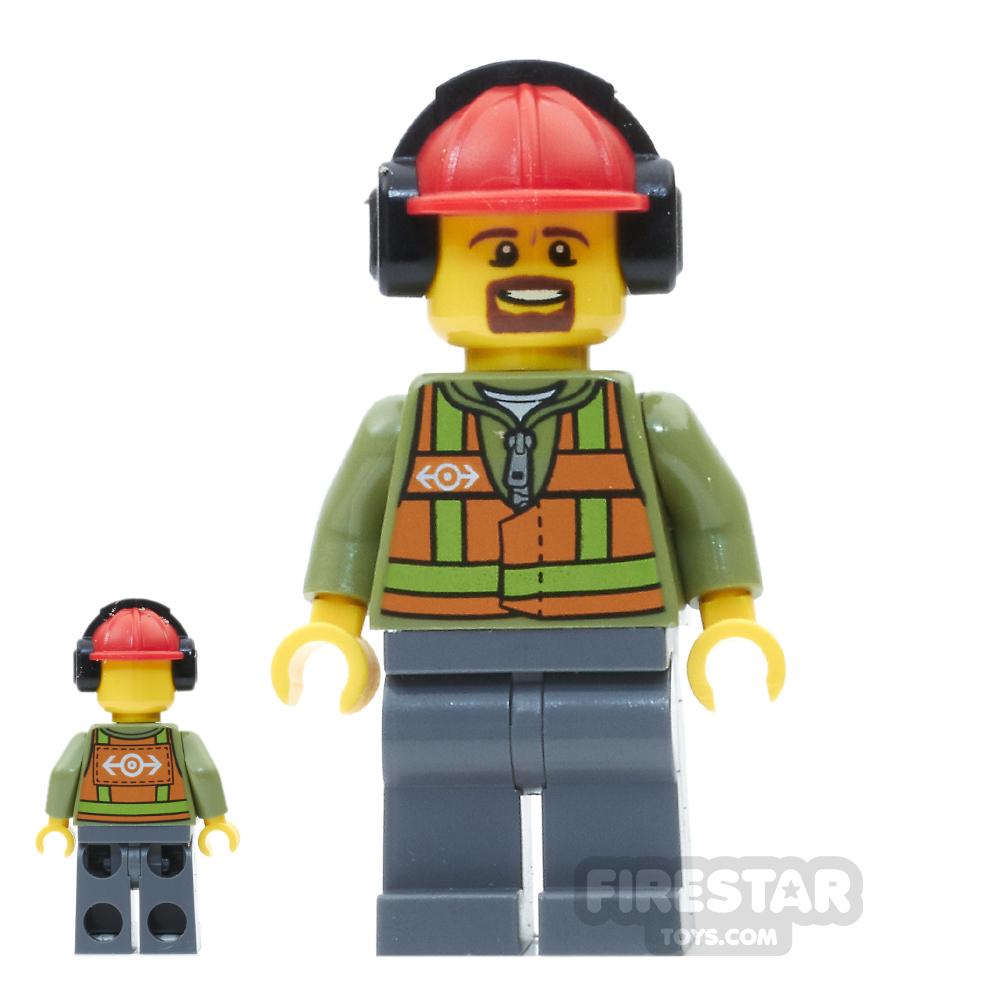 LEGO City Mini Figure - Light Orange Safety Vest - Brown Goatee