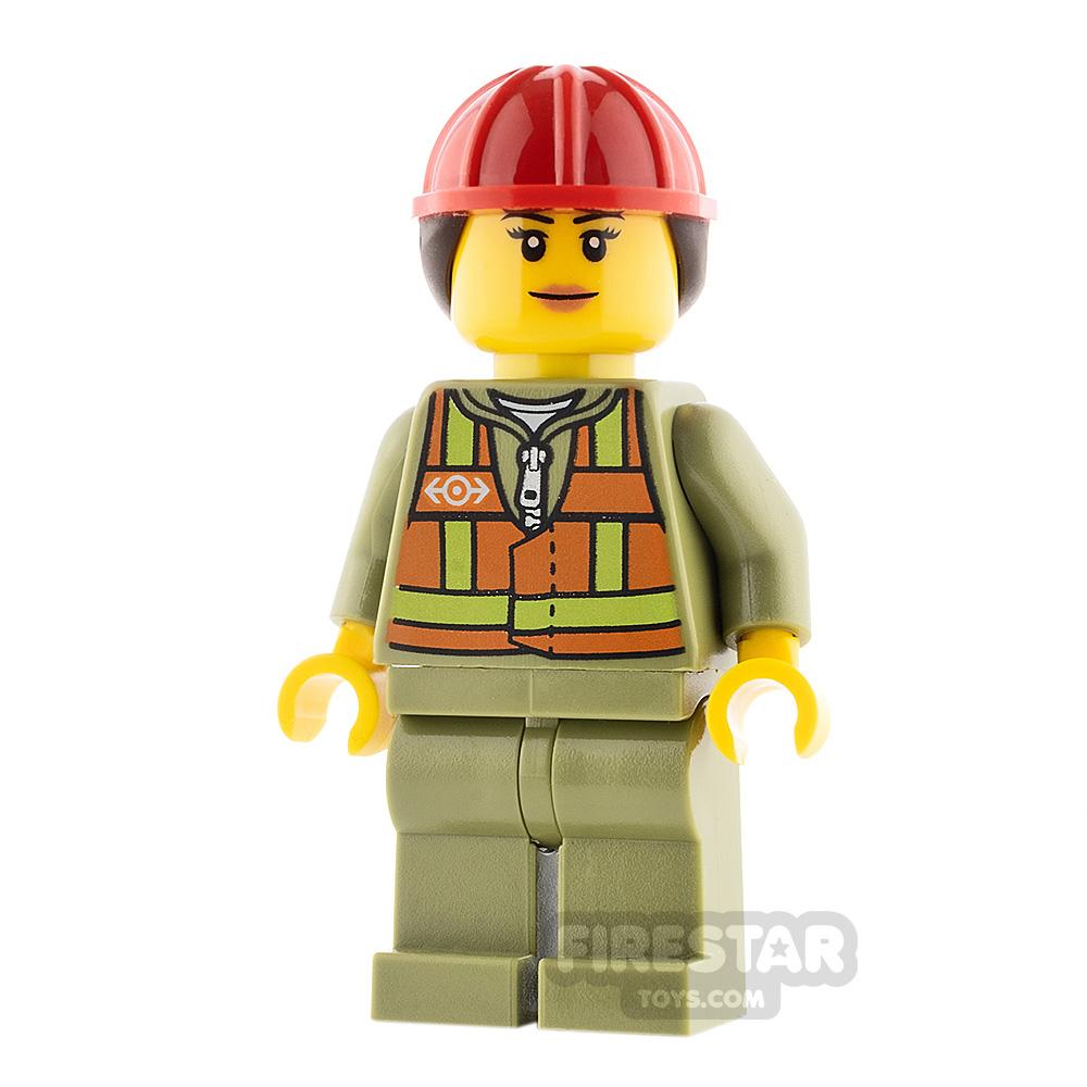 LEGO City Minifigure Female Safety Vest and Hard Hat