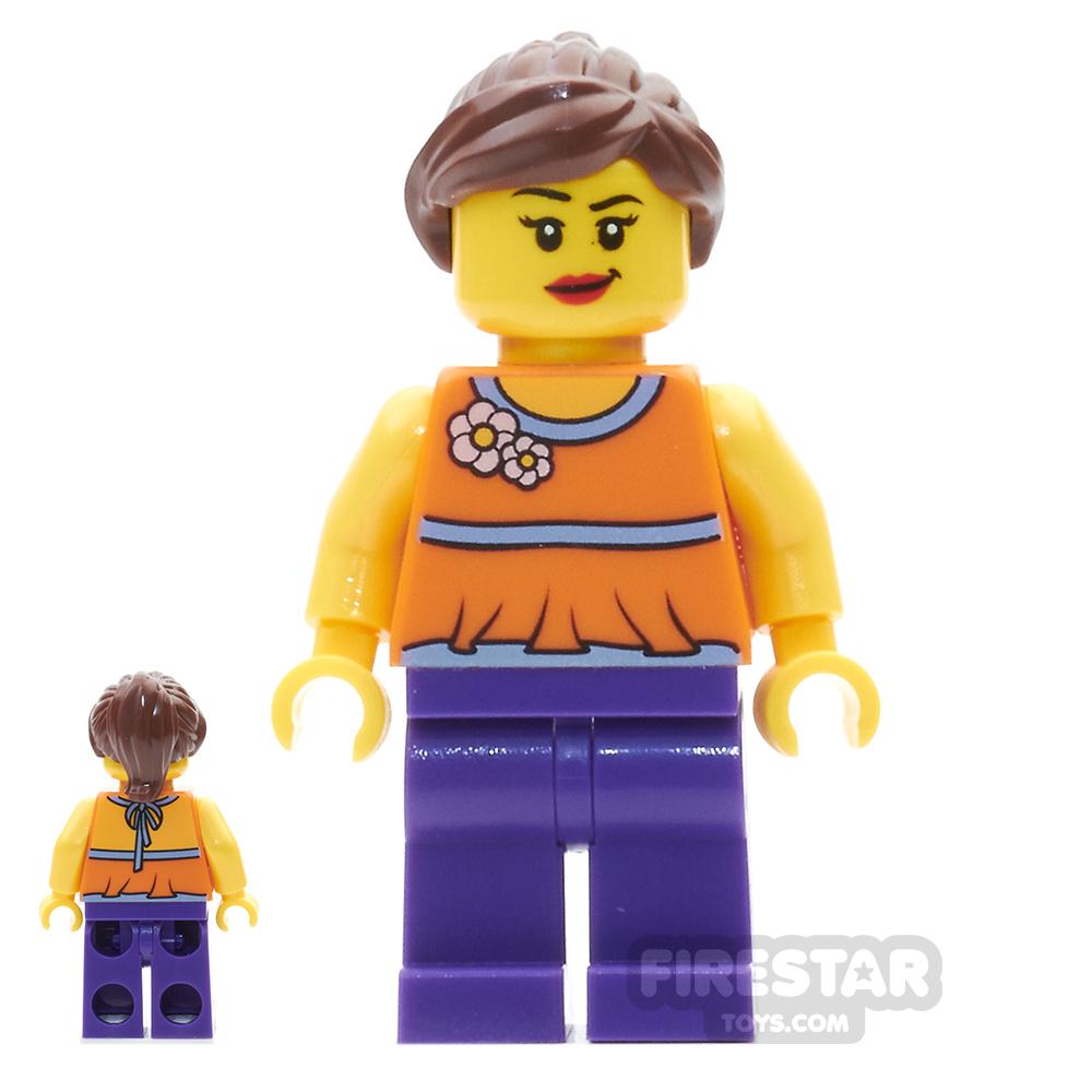 LEGO City Mini Figure - Orange Halter Top and Dark Purple Legs