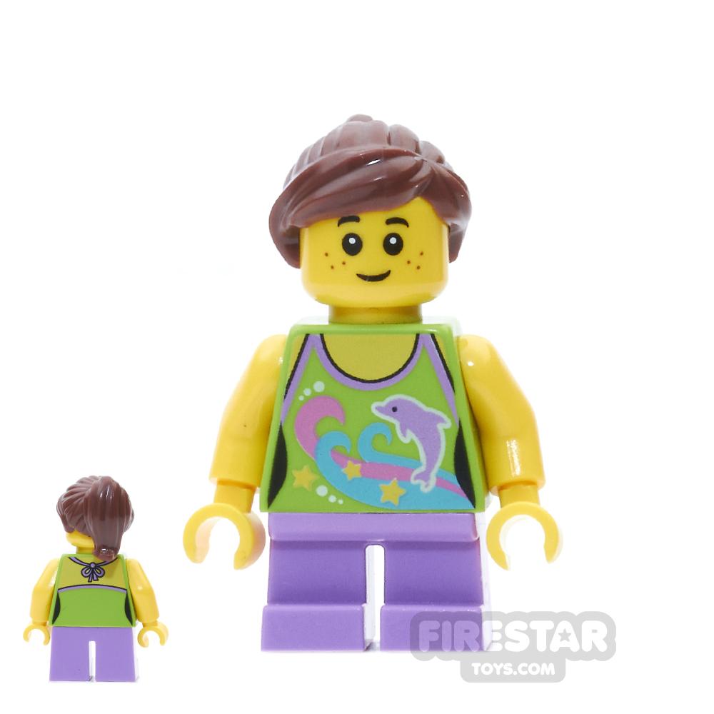LEGO City Mini Figure - Girl With Dolphin Top - Reddish Brown Hair