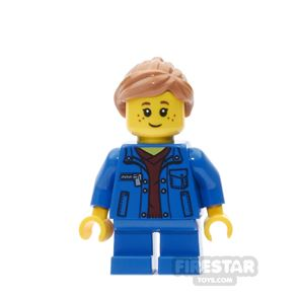 LEGO City Mini Figure - Denim Jacket with Blue Short Legs