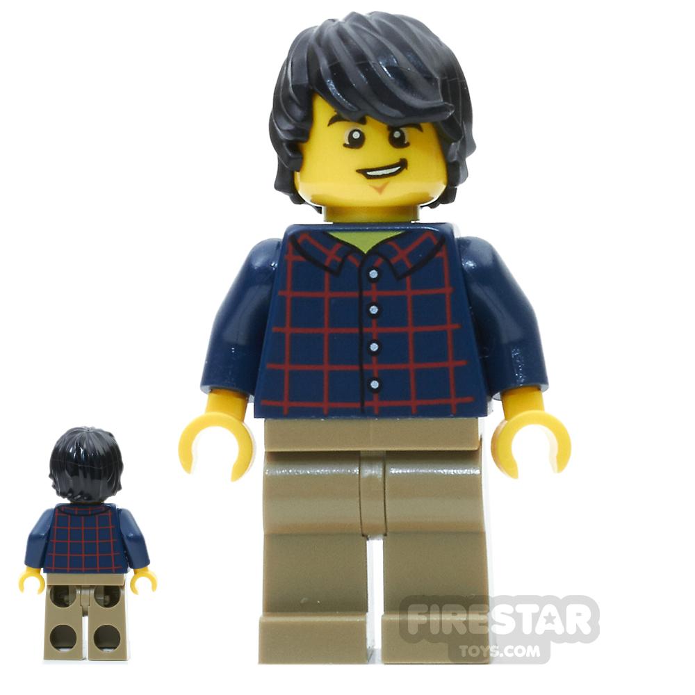LEGO City Mini Figure - Plaid Shirt and Black Tousled Hair