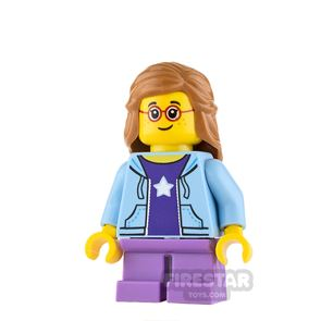 LEGO City Mini Figure - Girl with Blue Hoodie and Glasses