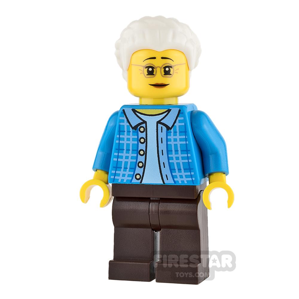 LEGO City Mini Figure - Grandma - Dark Azure Plaid Jacket