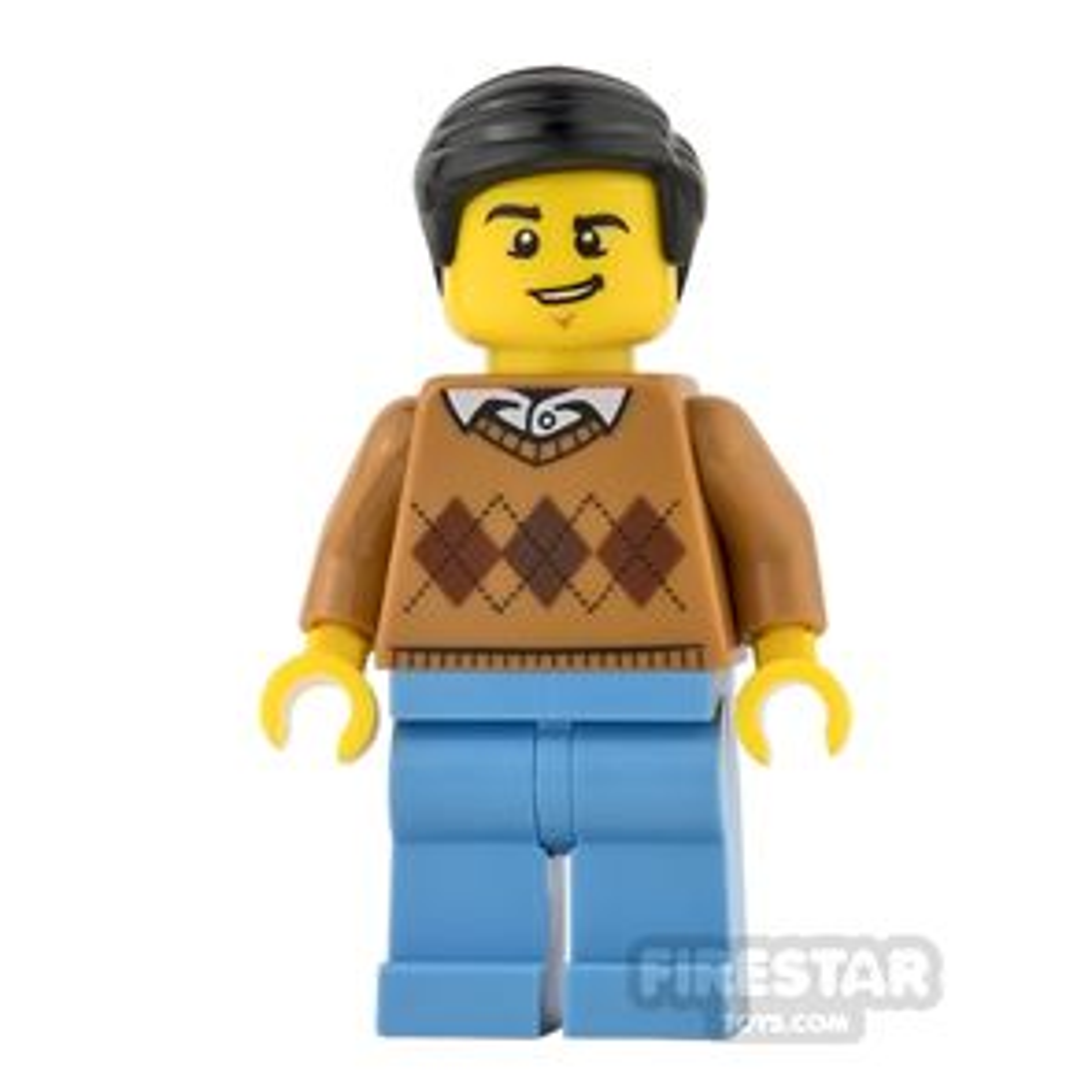 LEGO City Mini Figure - Argyle Sweater and Lopsided Grin