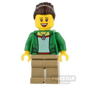 LEGO City Mini Figure - Green Jacket with Necklace and Smile