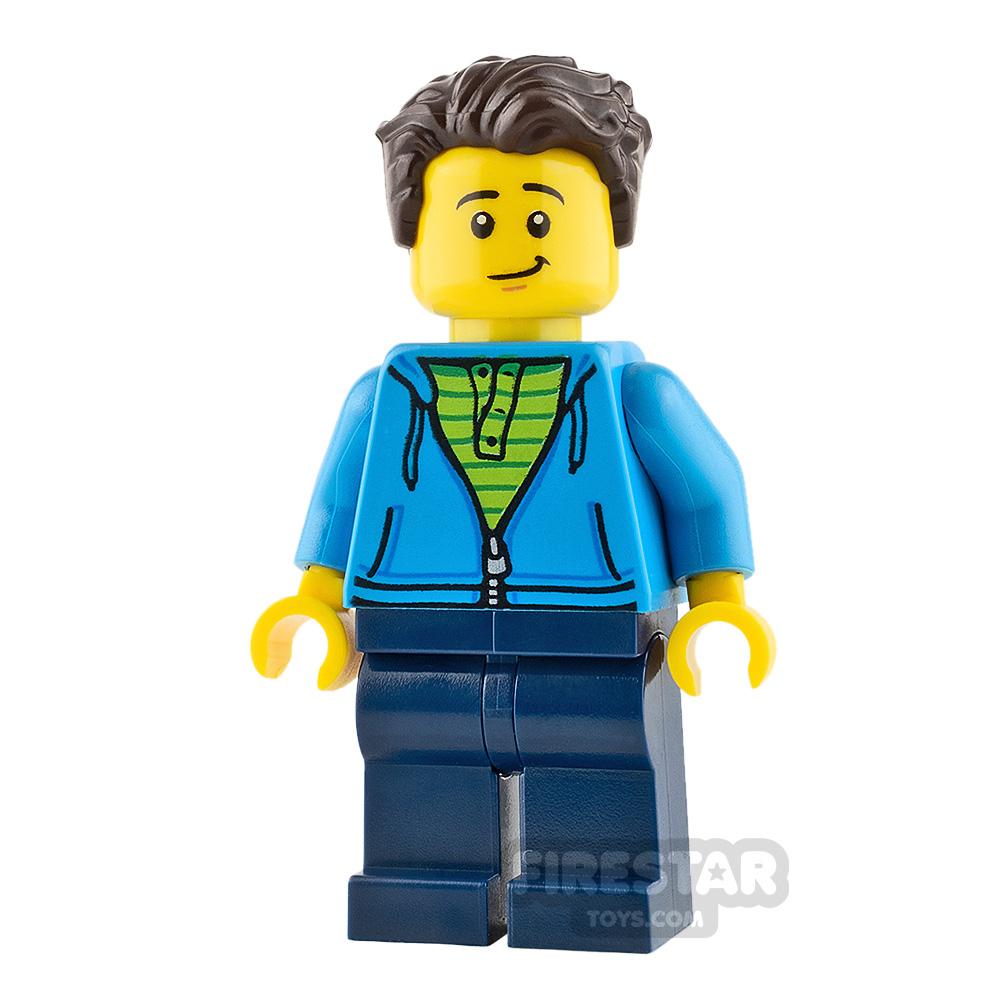 LEGO City Mini Figure - Man - Dark Azure Hoodie