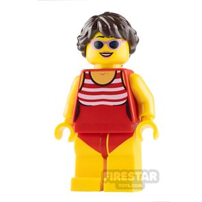 LEGO City Mini Figure - Beach Tourist - Female with Red Bathing Suit