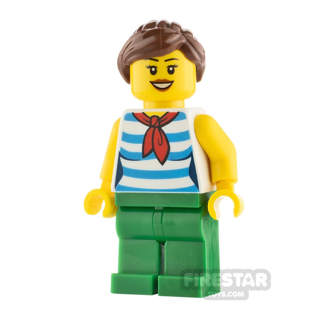 LEGO City Female with Blue Striped Shirt