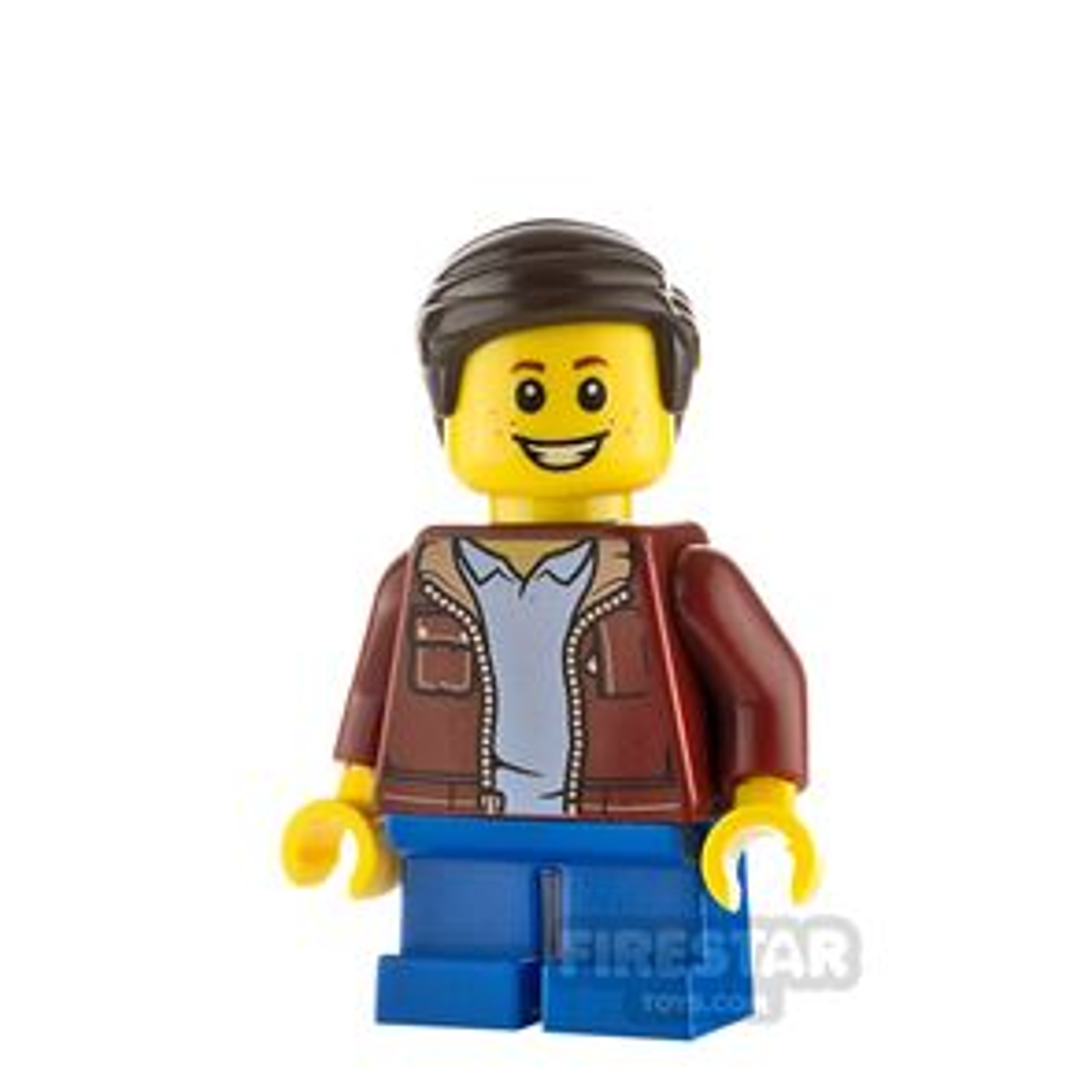 LEGO City Minifgure Boy Dark Red Jacket
