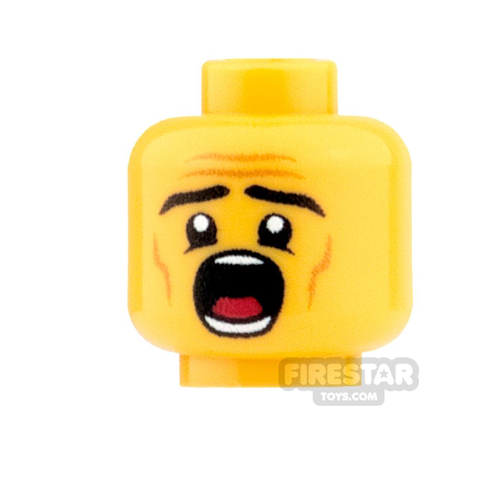 Custom Minifigure Heads - Male Dentist Patient - Yellow