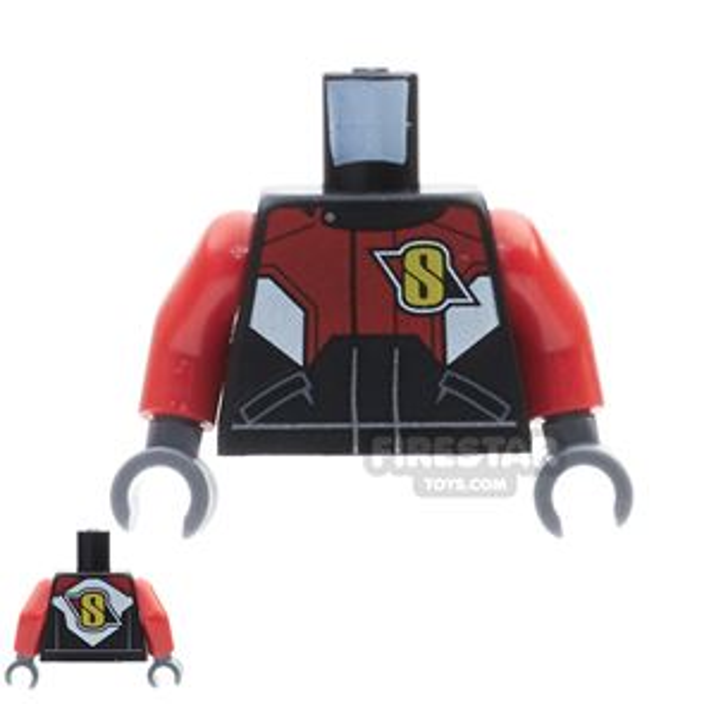 LEGO Mini Figure Torso - Black Racing Jacket With S Logo